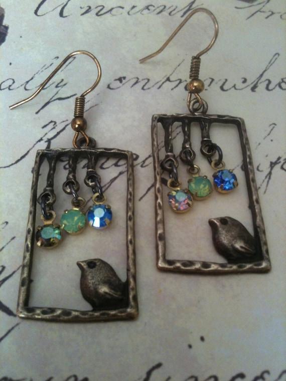 Jewelry, Earrings, Vintage Style Earrings, Bird Earrings, Vintage Earrings, Swarovski Earrings, Charms Earrings, Earrings for Women