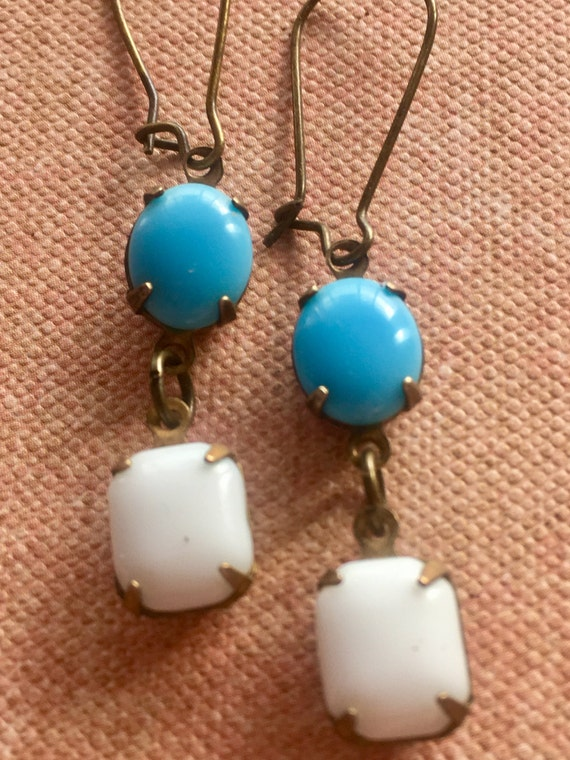 Art Deco Earrings, Blue and White Earrings, Dangle and Drop Earrings