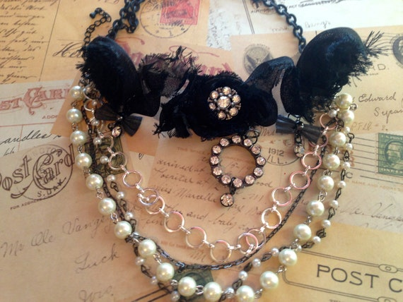 Jewelry, Necklace, Black Choker, Fabric Necklace, Burlesque Inspired Necklace Pearls and Rhinestone and Chain