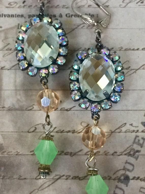 Dangle and Drop Earrings for Women, Swarovski Earrings, Vintage Earrings, Antique Jewelry, Art Deco Earrings, Blue Earrings, Vintage