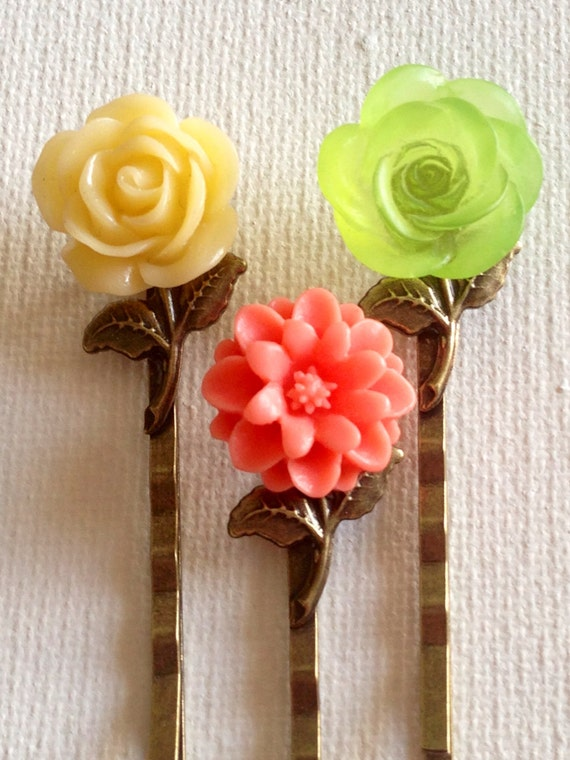 Flower Hair Bobby Pins, Accessories, Hair, Bobby Pins, Flower Hair Pins, Cabochon Hair Pins, Wedding Hair