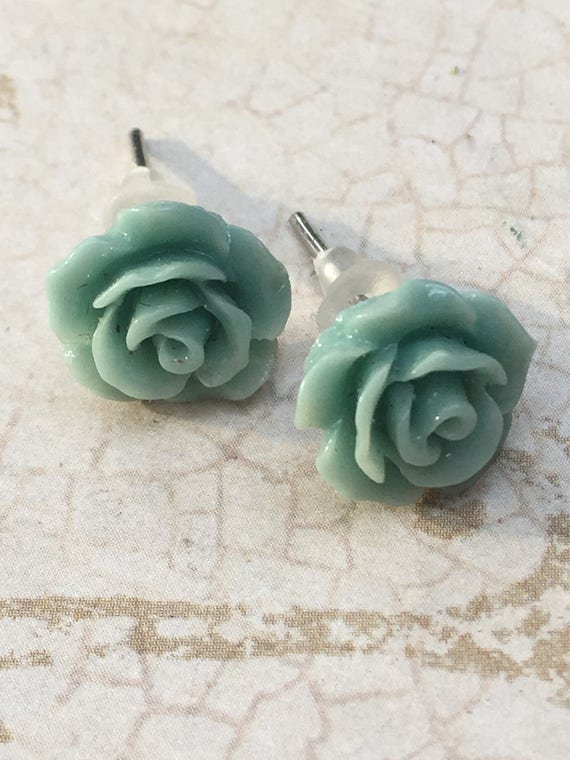 Green Rose Earrings, Flower Earrings, Cabochon Earrings, Post Earrings, Vintage Style Earrings, Romantic Earrings