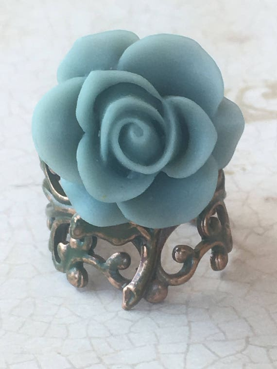 Rose Ring, Jewelry, Ring, Rings for Women, Adjustable Ring,Flower Ring, Steampunk Ring, Victorian Ring, Romantic Ring, Cabochon Ring