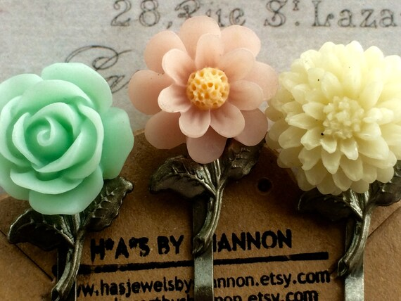 Trending Hair Pins, Rose Bobby Pins, Flower Hair Pins, Cabochon Hair Bobby Pins, Accessories for Hair, Most Popular Hair