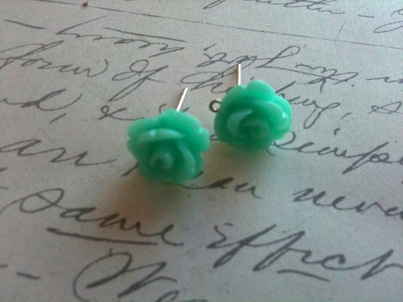 Childrens Rose Earrings Mint Green Rose Flower Cabochon Posts