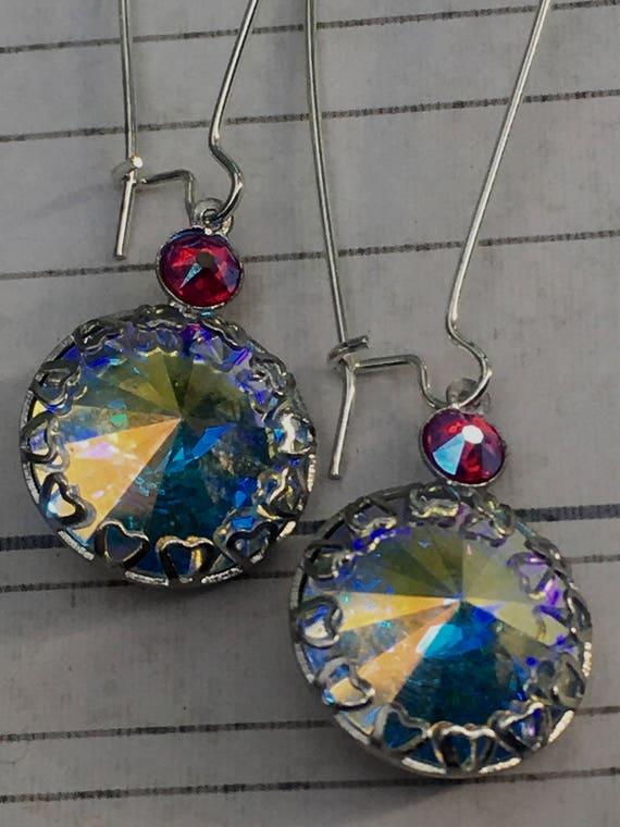 Earrings for Women, Vintage Jewelry, Crystal Earrings, Art Deco Earrings, Heart Earrings, Dangle Drop Earrings, Antique Jewelry