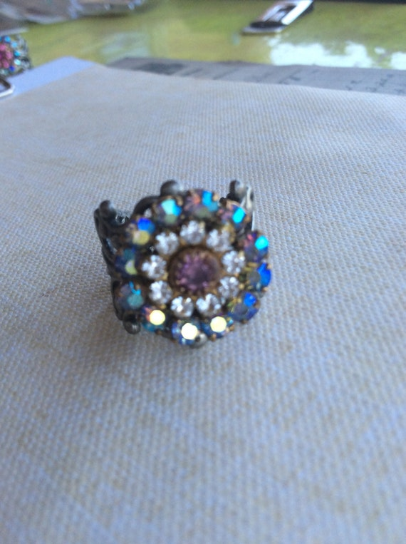 Jewelry Swarovski Rings Vintage Crystal Flower Rings Handmade