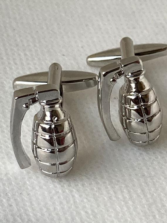 Handmade Silver Grenade Cufflinks, Gifts for Men