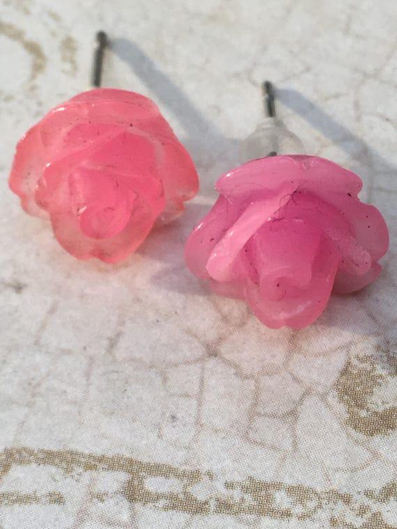 Jewelry, Earrings, Pink Rose Earrings, Flower Earrings, Cabochon Earrings, Post Earrings, Vintage Style Earrings, Romantic Earrings