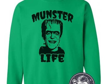 3ad251c0db9c Munster Life Sweatshirt Frankenstein Monster Sweater Vintage Halloween Gift  Ideas Shirt Thug Life Herman Munster Funny Sweaters Mens Womens