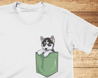 10679664 Husky Pocket T-Shirt Funny Dog Shirt, Cool Graphic Tees, Mens, Womens, Kids  Tshirts, Husky Dog Lover Gifts