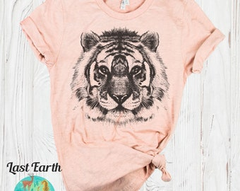 a770262ff Tiger Shirt | Animal Prints | Bella Canvas | Mens Shirt | Womens Shirts |  Animal Face Shirts | Graphic Tees | Vintage Tiger Tshirt