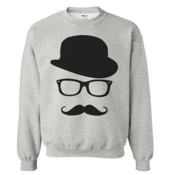 95c3009a2df Mustache and Wayfarer Glasses Sweater Flex Fleece Pullover