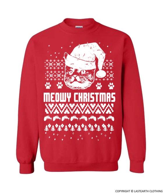 Cat Christmas Sweater.Cat Christmas Sweater Cats Ugly Christmas Sweater Fleece Pullover Sweatshirt Gifts Sweaters