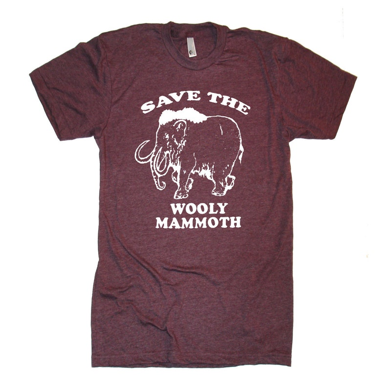 a2a862b4a6415c ON SALE Unisex Woolly Mammoth T Shirt Save The Woolly Mammoth