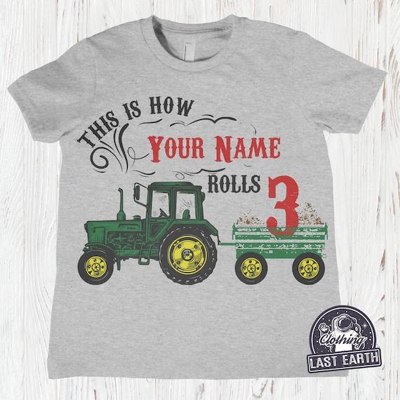 Personalized Custom Made Boy or Girl FARM Barn Tractor Name or Birthday T Shirt