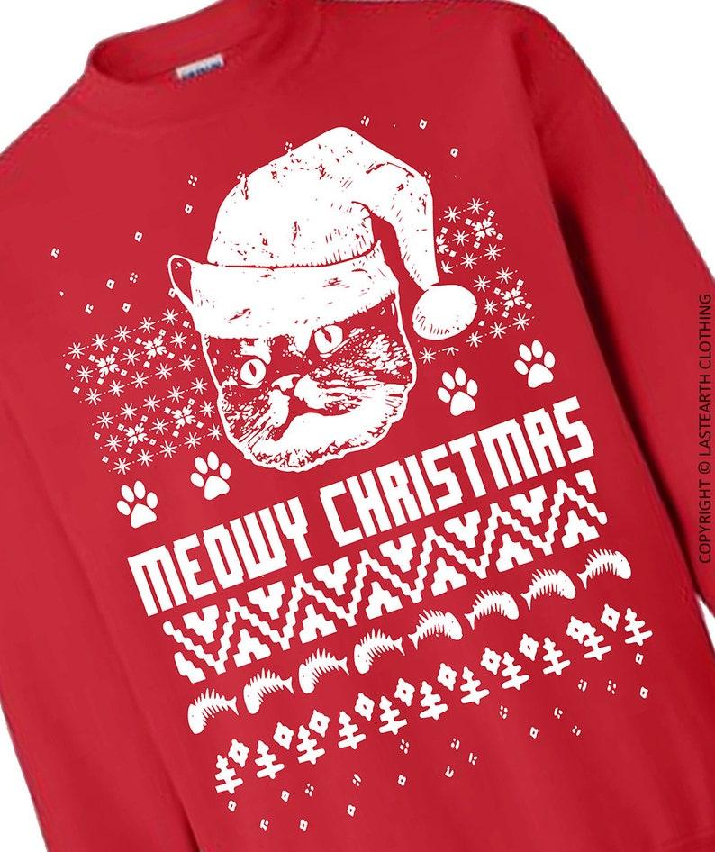 Christmas Cat Sweater.Cat Christmas Sweater Cats Ugly Christmas Sweater Fleece Pullover Sweatshirt Gifts Sweaters