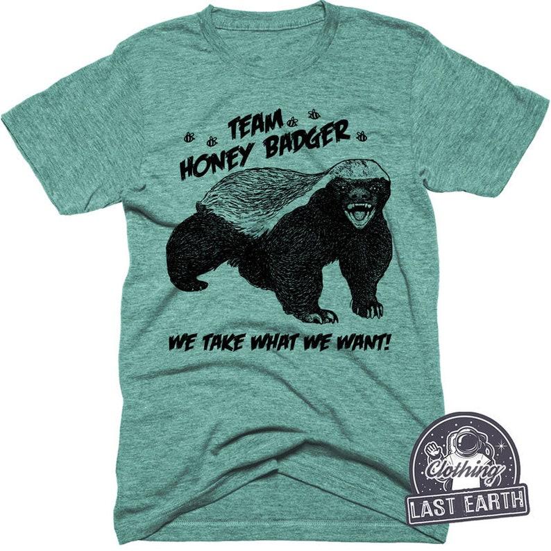 c60e629399427 On Sale Team Honey Badger Shirt Funny Shirts Mens Tshirt