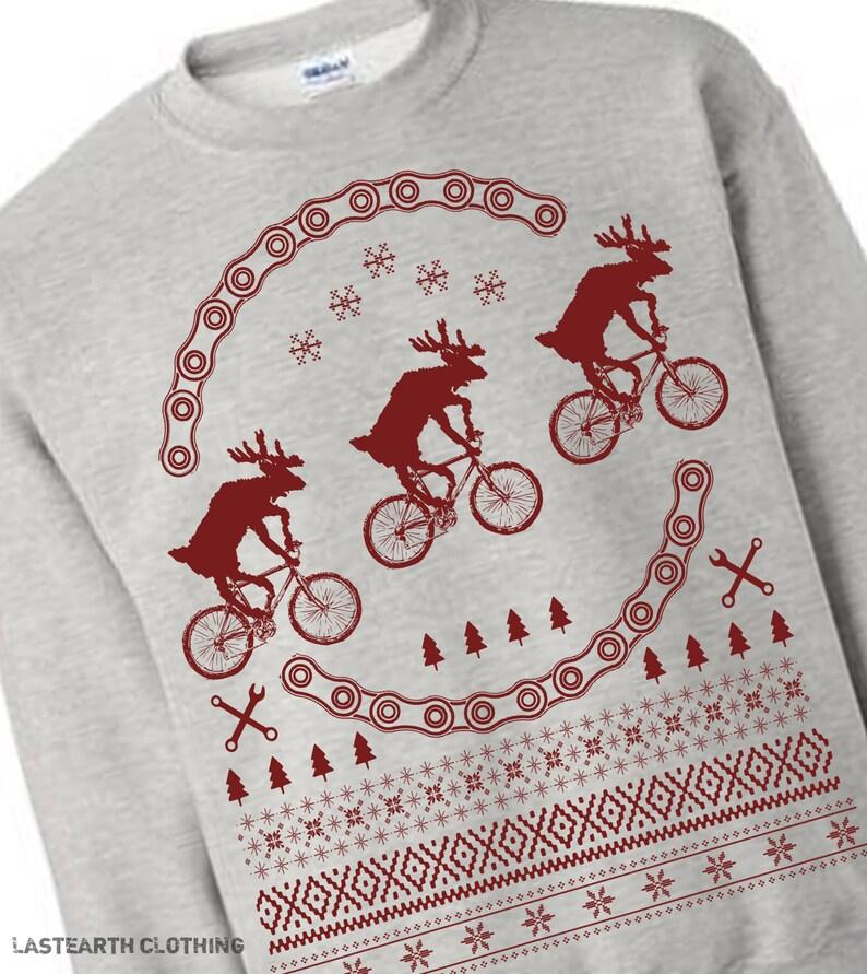 On Sale Reindeer on Bikes Christmas Sweater Christmas Ugly  0a0d65204