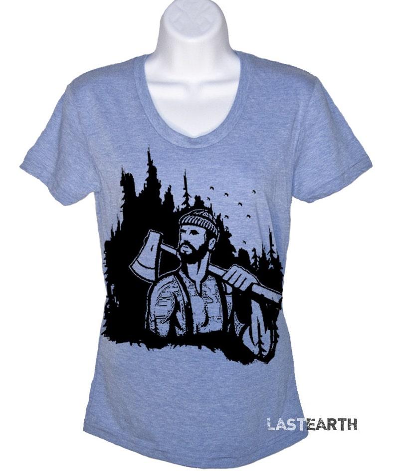 3f480fe65 Womens Lumberjack Shirt Ladies Outdoors Camping T-Shirt