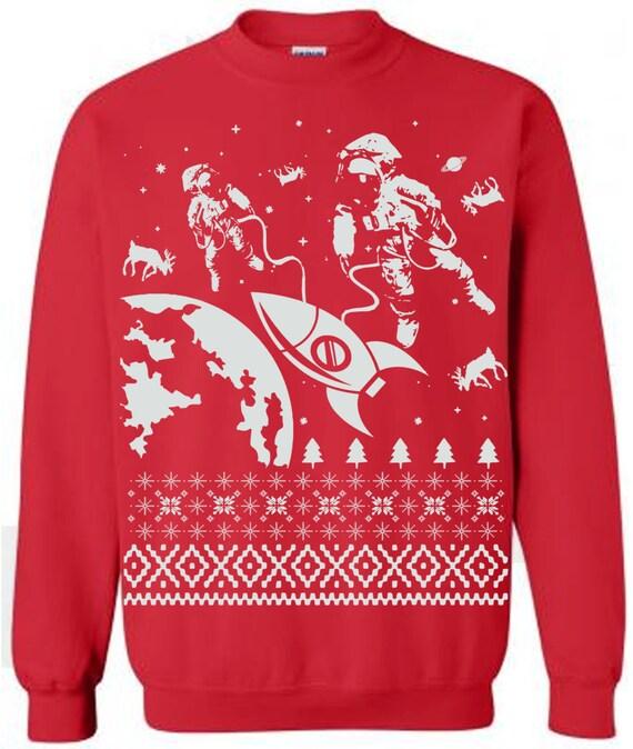 Astronaut in Space Ugly Christmas Sweater Black Crew Neck Sweatshirt