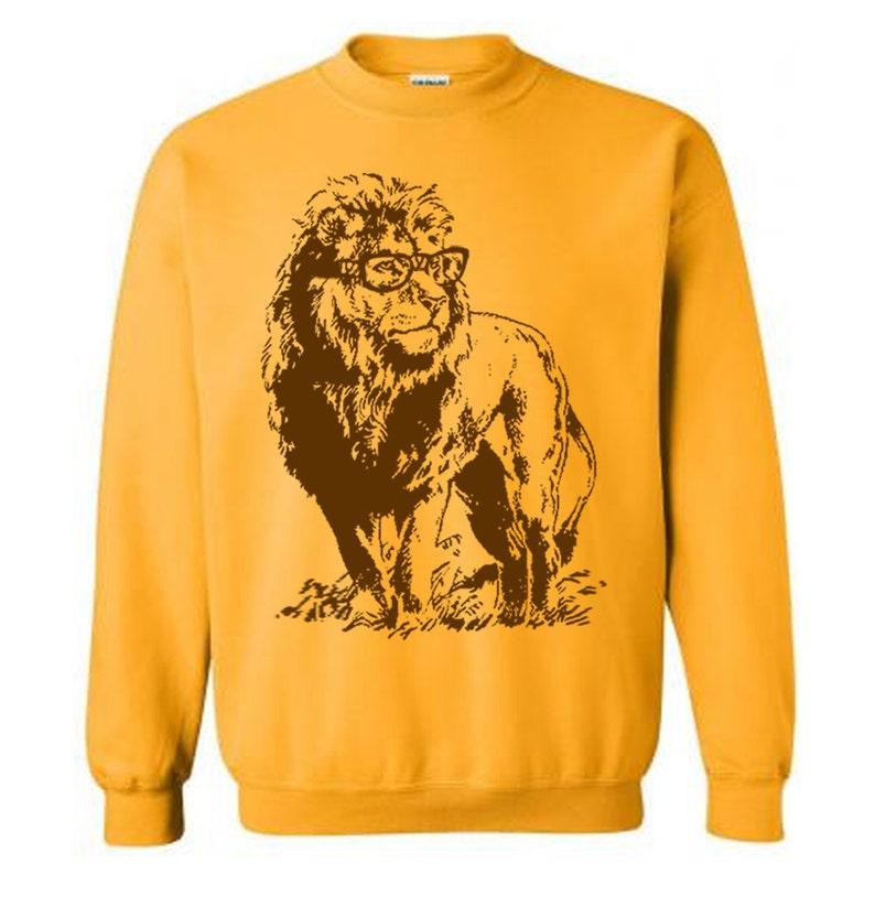Lion Sweater Unisex Sweatshirt Fleece Pullover Sweatshirt Lion image 0