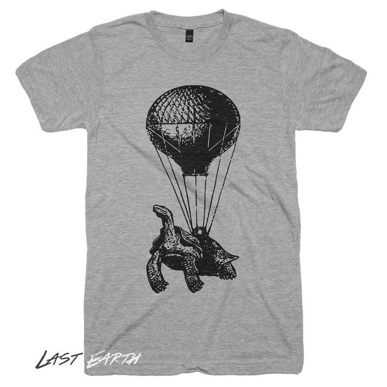 13e6462e7cd55 Turtle on a Hot Air Balloon T-Shirt, Animal Print, Funny Vintage Tshirts,  Gifts