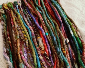 Single Ended Dreads Sample SALE REDUCED Price Pack Seconds SE Dread Felted Wool Dreadlocks Natural Dreadlock Bohemian Festival Extensions