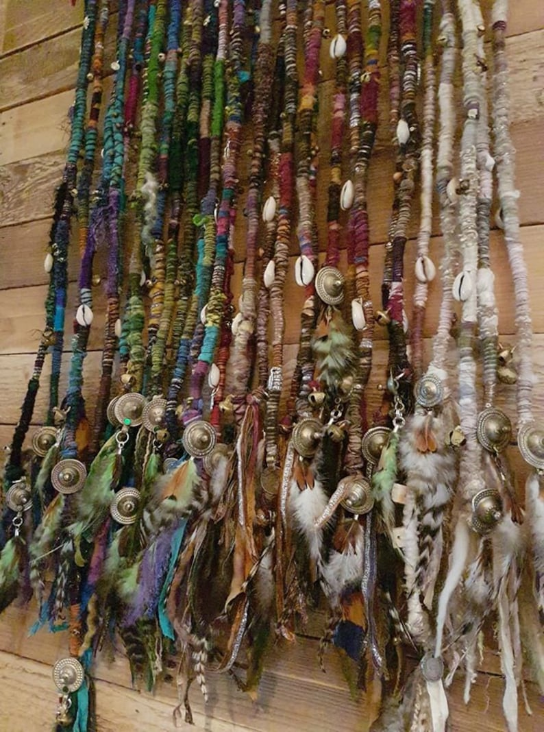 ONE Dreadlock Wrap Hair Wrap Dread Dreads Earthy Forest Atebas Single Ended Loop Elf Pixie Psy Festival Feathers Extension Recycled Eco Silk