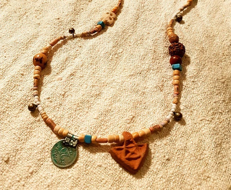 Tribal Necklace Gypsy Coin Clay Arrow Earthy Jewelry Rudraksha Bohemian  Jewellery Sea Natural Coconut Wood Bells Brass Beads Festival Boho