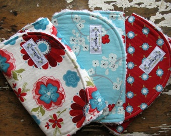 LAST ONE - Baby Girl Burp Cloths - Seaside Cottage - Set of 3 - Red, Aqua and Grey Flowers, Tree Blossoms and Daisy Dots
