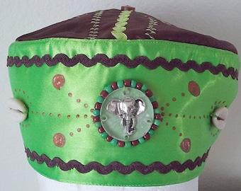 2ae364b7eb0 Santeria yoruba SATIN  cotton Hat. akete Embroidery Cap for African  ORUNMILA. Gorro para ORULA africano