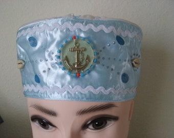 57ec664e955 Santeria yoruba SATIN  cotton Hat. akete Embroidery Cap for YEMAYA ASESU .  Gorro para santero