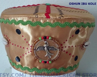 e2ba2177795 Santeria yoruba SATIN  cotton Hat. akete Embroidery Cap for OSHUN iBU kOLE  Gorro para Oshun iBU KOLE