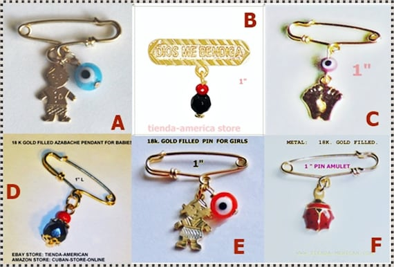 60a4b03a6f66 18k Gold Filled Pin AMULET Protection against evil eye, envy for Babies.  Alfiler con Amuleto para proteccion de bebes.