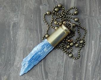 Blue Kyanite Crystal Bullet Necklace