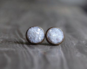 Crushed Crystal Druzy Earring Studs
