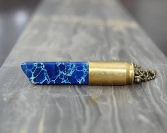 Dark Blue Jasper Crystal Bullet Necklace