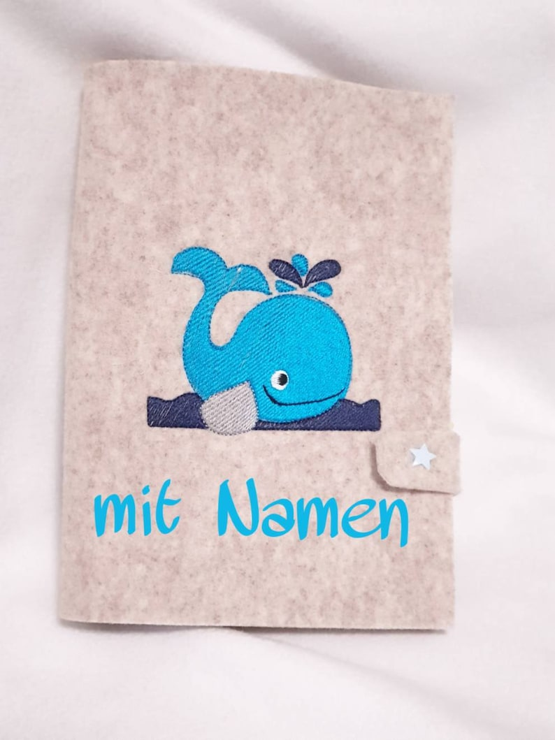 U-Heft Hülle mit Namen Wal Filz Umschlag UHeft Hülle image 0