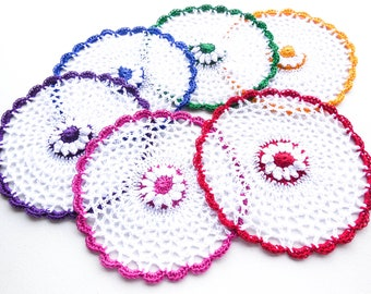 Crochet Cotton Washcloth - Set of 1 through 6 - Lace Daisy Facecloth - Lace Flower Doily - Egyptian Cotton Thread