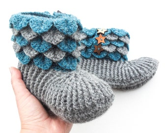 e27bc9a71c5 Crochet Dragon Scale Slippers - Women s Alpaca Boots - Crocodile Stitch  Slippers With Wood Buttons