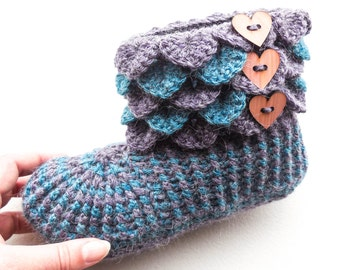 6353ad6479b Dragon Scale Alpaca Boots - Women s Crochet Slippers - Adult Sizes - Crocodile  Stitch Slippers With Wood Buttons