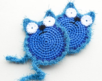 Blue Dish Scrubber - Set of 2 through 8 - Crochet Cat Scrubbie - Nylon Net Pot Scrubby