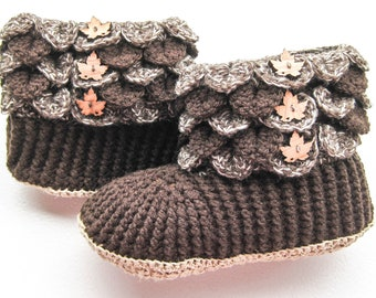 f3437b5d16a Brown and Cream Crocodile Stitch Boots - Dragon Scale Slippers - Women s  Crochet Boots with Wood Buttons