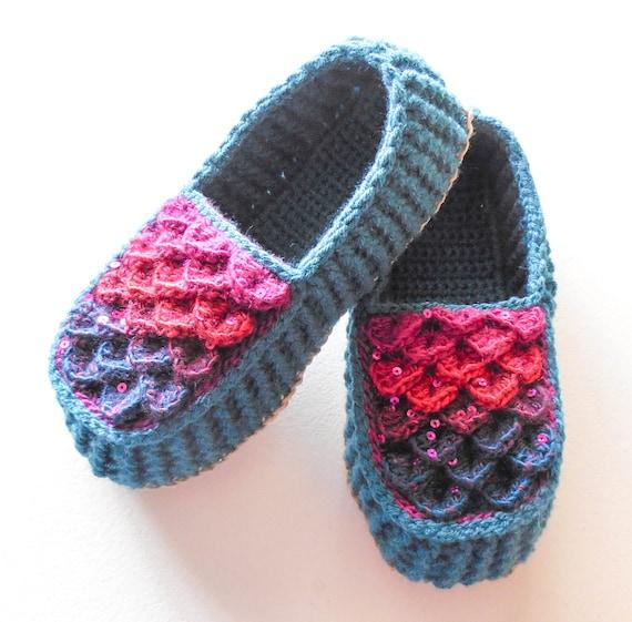 Mocasines tamaños adultos Crochet turquesa Dragon escala | Etsy