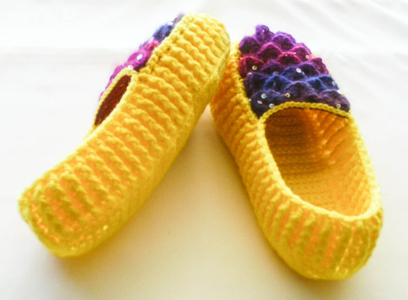 77dd9ec91f437 Crochet Yellow Dragon Scale Slippers - Adult Sizes - Rainbow Crocodile  Stitch Loafers with Hemp Soles - Made to Order