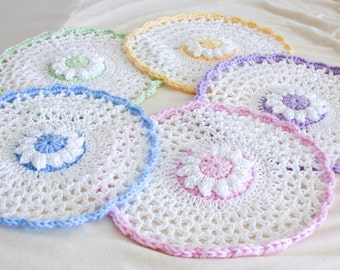 Pastel Crochet Lace Washcloths - Set of 5 - Round Cotton Flower Dishcloths