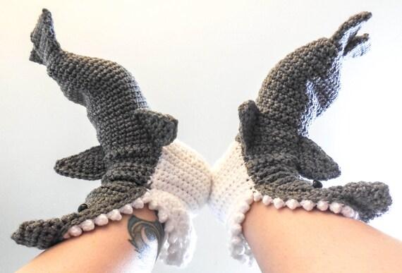 Crochet Shark Slippers Adult Men Sizes 6 12 Grey Crochet