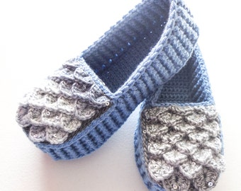 Storm Blue Dragon Scale Slippers - Adult Sizes - Crocodile Stitch Loafers with Hemp Soles - Made to Order