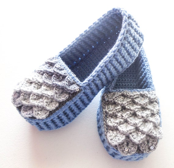 6dceb2b82265a Storm Blue Dragon Scale Slippers - Adult Sizes - Crocodile Stitch Loafers  with Hemp Soles - Made to Order